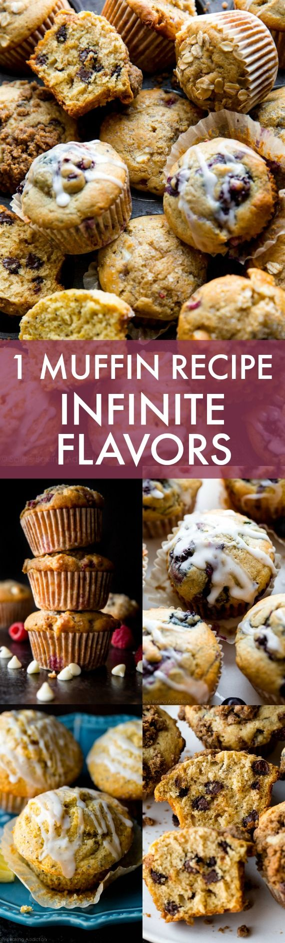 Create hundreds of muffin flavors from this 1 master muffin recipe!! Easy, straightforward, and freezer friendly! Lemon poppy seed, blueberry muffins, chocolate chip muffins, and coffee cake muffins on sallysbakingaddiction.com