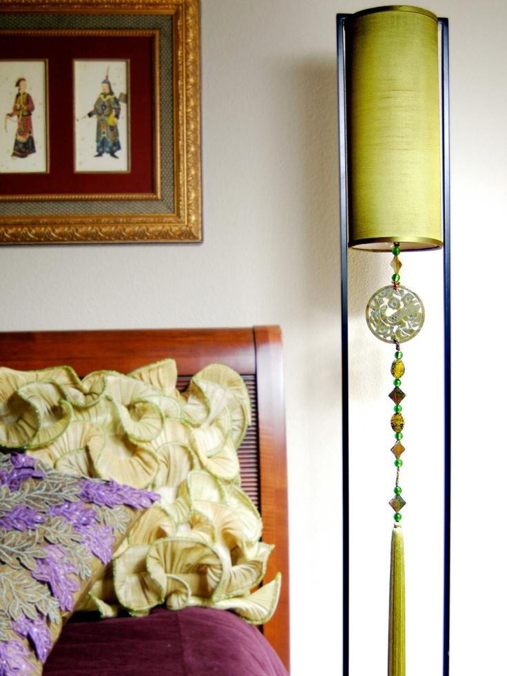 A bright lampshade can deliver the perfect pop of color to any room. This Asian-contemporary floor lamp from db Sources ties in surrounding colors from the room to create a bold statement.