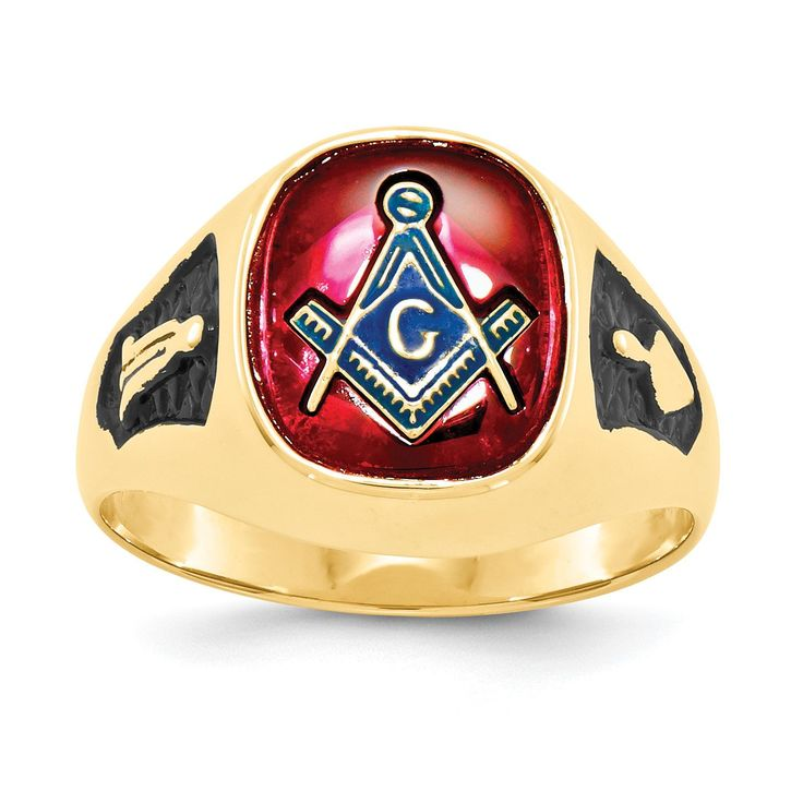 14k Men's Synthetic Ruby Masonic Ring Y1583M