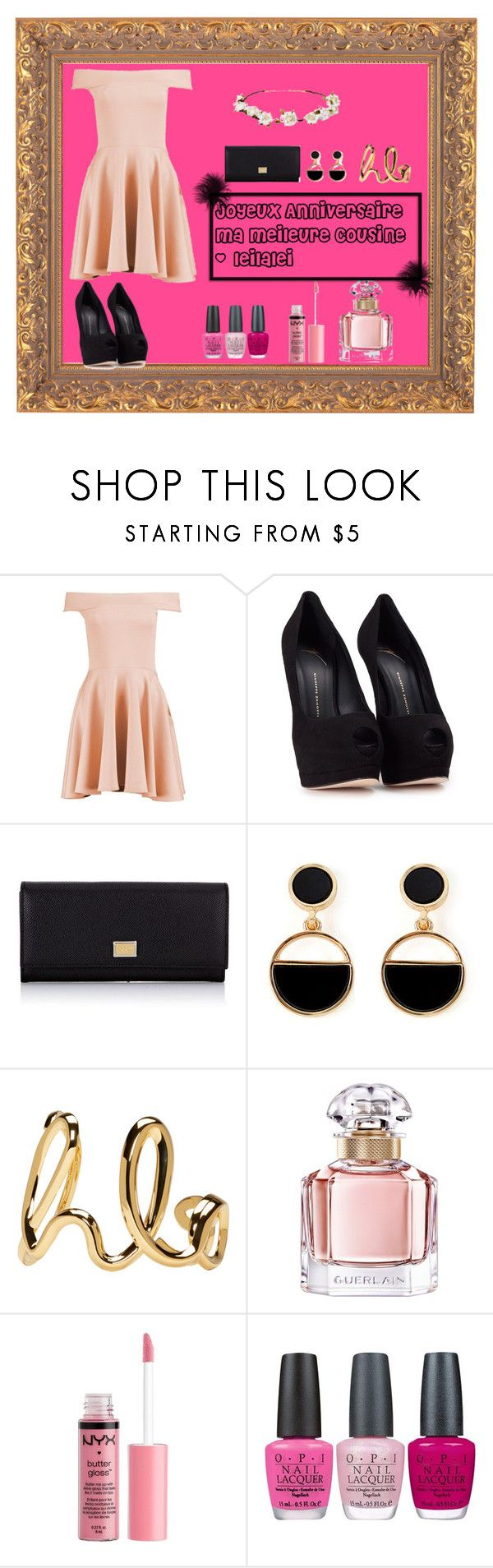 """""""Joyeux Anniversaire Ma Meilleure @leilalei"""" by lola-madridista ❤ liked on Polyvore featuring Boohoo, Giuseppe Zanotti, Dolce&Gabbana, Warehouse, Chloé, Guerlain, Charlotte Russe, OPI and Cult Gaia"""