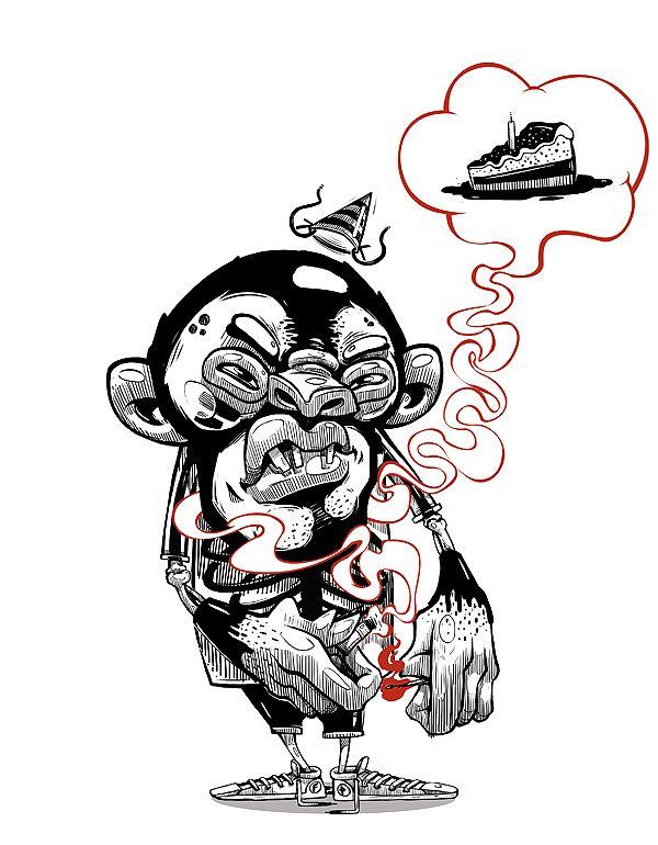 Illustrations 2 by Georgi Dimitrov - Erase, via Behance #monkey