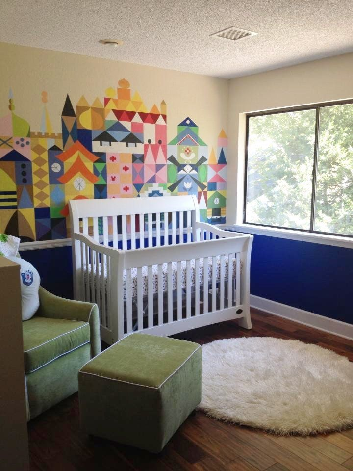 5 Classic Disney Nurseries: I like this one but I think I would paint the opening sleeping beauty scene instead of small world