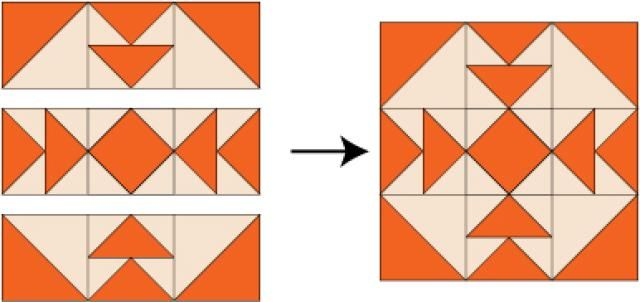 Use Just Two Fabrics to Make Reverse Capital T Quilt Blocks: Assemble the Reverse Capital T Quilt Block