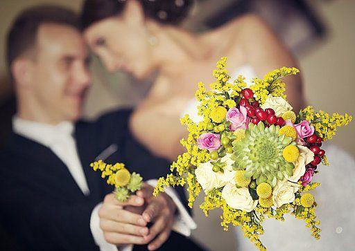 Bright wedding bouquet of pink and cream roses,solidago,suculents,hypericum and craspedias/ farebna svadobna kytica z ruzi,solidaga,sukulentov a craspedii