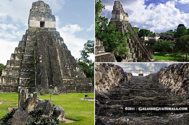 """Triptych of the """"Gran Jaguar"""", Temple I of Tikal in Petén, Guatemala (Triptico del Gran Jaguar, el Templo I de Tikal en el departamento de Petén)"""