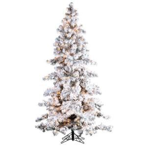 sterling inc pre lit heavy flocked spruce white artificial christmas tree with clear at the home depot - Home Depot White Christmas Tree