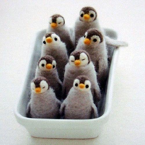 pocket penguins: Needle Felting, Craft Ideas, Felted Penguins, Felt Penguins, Animal, Crafts