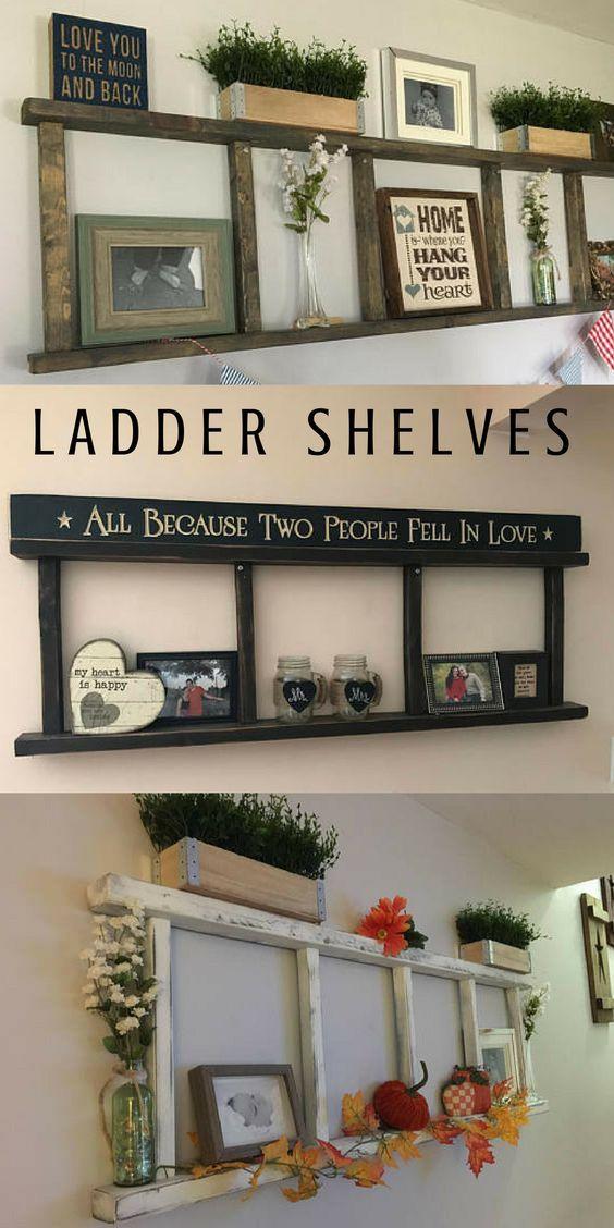 ladder shelves, so perfect for farmhouse, rustic, primitive style home decorating. I like the top one the best for bedroom. #laddershelf #primitivehomedecor #farmhousedecor #diyshelves #ad