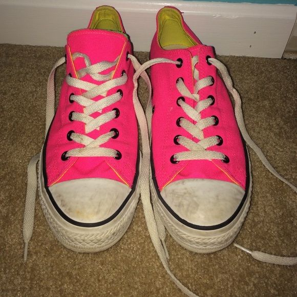 Neon converse Used. A little dirty, but in great condition. Could probably be cleaned up. Says size 5 but I wear a size 7-7.5 and they fit me, even with a little extra room. Make offers! :) Converse Shoes