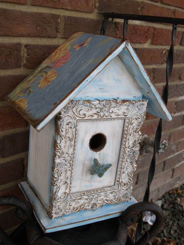 blue shabby chic birdhouse  love the use of the frame