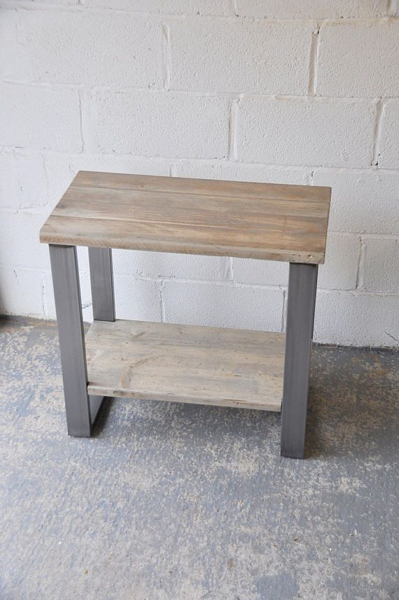 Reclaimed Wood Industrial Office Side Table Bespoke Industrial