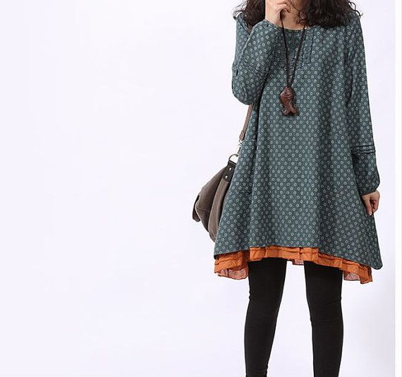2014 New Style Cotton dress Long sleeve dress large size dress cotton blouse casual loose dress cotton top plus size dress - Blue on Etsy, $58.90