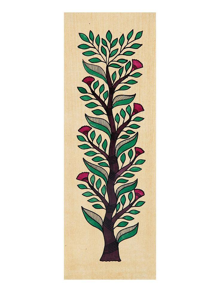 Tree of Life Madhubani Artwork with Flowers