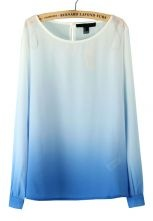 Blue Gradual Change Long Sleeve Chiffon Blouse $22.58