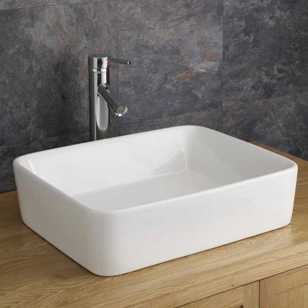 Balzano 480mm X 380mm White Ceramic Large Rectangular Counter