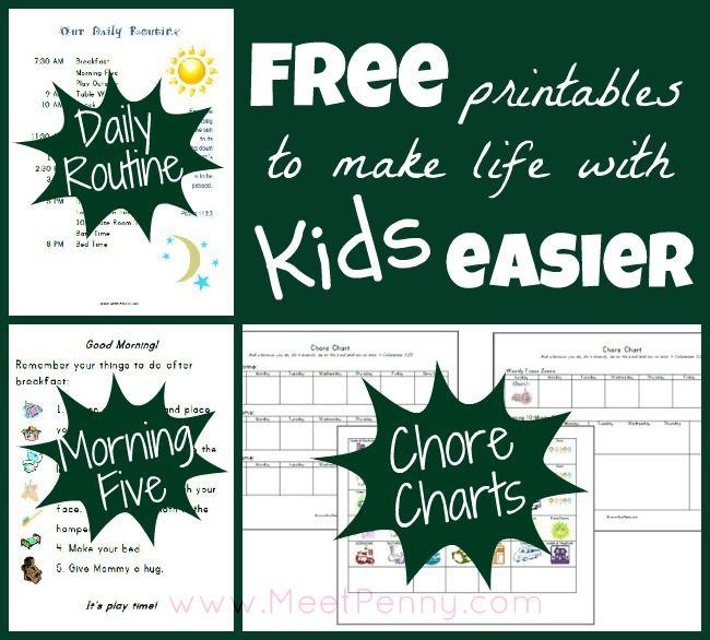 Free  printables to make life easier with kids easier  #organizedkids