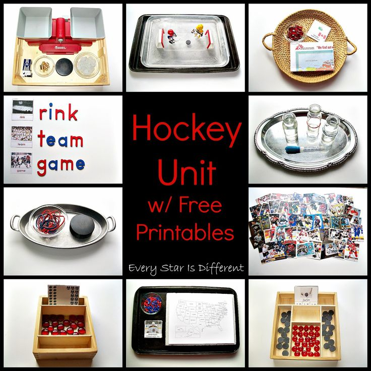 "Hockey Unit with Free Printables from Every Star Is Different (Also see ""Hockey Activities for Tots and Preschoolers with Free Printables"" at http://www.everystarisdifferent.blogspot.com/2015/01/hockey-activities-for-tots-preschoolers.html)"