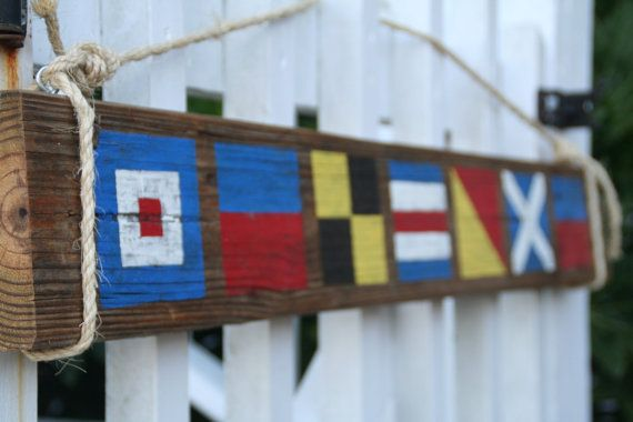Custom Nautical Flag Sign Name with 5 letters by DocksideCottage, $48.00