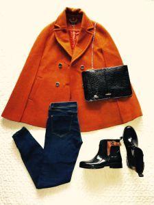 Outfit von Topshop, Zara, Tommy Hilfiger #tasche #jeans #stiefel #boots #cape