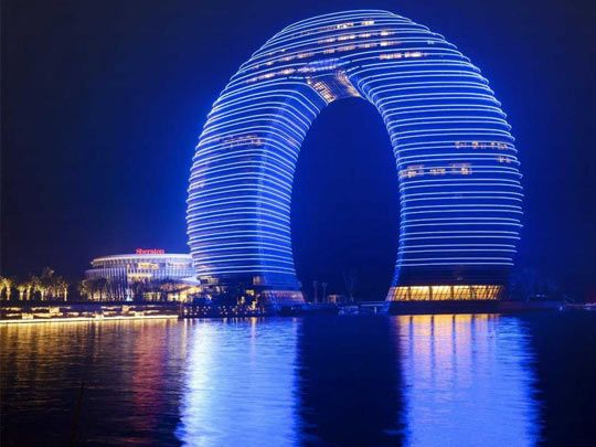 Sheraton hotel in China…it looks like a slinky to me haha