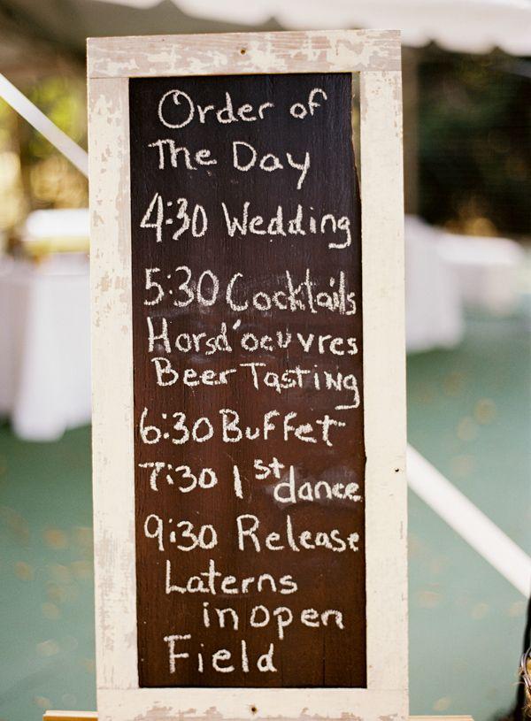 chalkboard wedding schedule to keep guests informed #weddingsign #diy #weddingchicks http://www.weddingchicks.com/2014/01/29/thrift-savvy-wedding