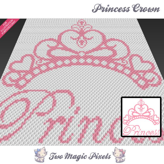 Princess Crown crochet graph (C2C, Mini C2C, SC, HDC, DC