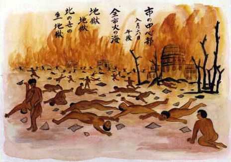 """""""In the end, there beckons, more and more clearly, general annihilation"""" - Albert Einstein 1945 Below - drawings by Japanese survivors of the Hiroshima and Nagasaki nuclear bombing, August 1945"""