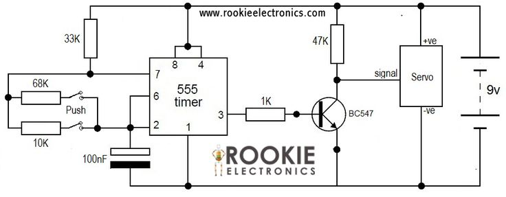 servo tester using 555 timer circuit diagram