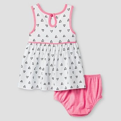 Baby Girls' 2 Piece Heart Print Dress Cat & Jack - Pink/White 3-6M, Size: 3-6 M