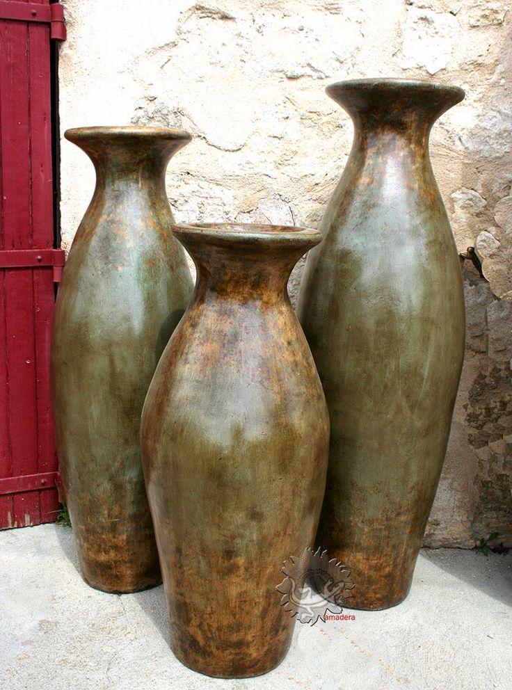 amadera, meuble et décoration, le charme éthique du Mexique authentique: Grandes jarres et cache-pots en terre cuite...Les nouveautés!