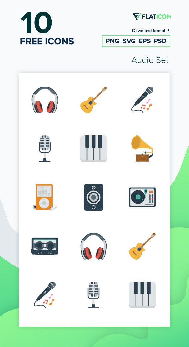 10 Free Vector Icons Of Audio Set Designed By Flat Icons Icon Vector Icons Free Icons Png