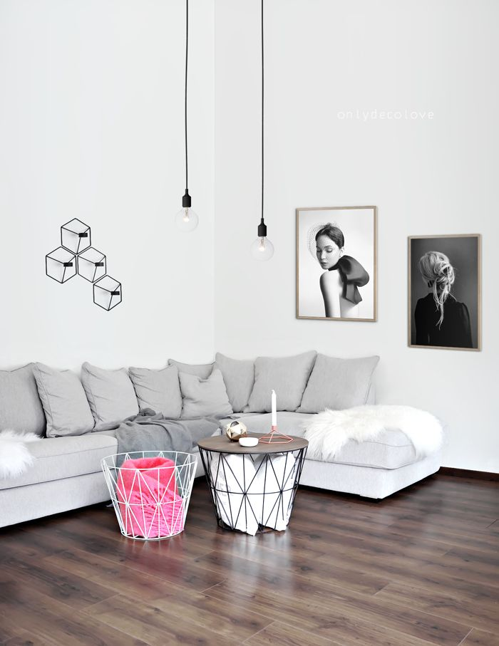 Wire basket perfect as low tables - also inspirations from Menu (candleholder) and Muuto (pendants E27)