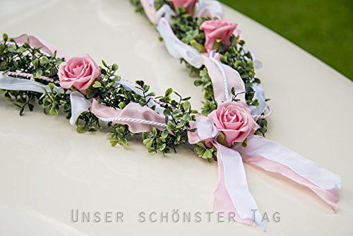 Amazon.de: Autoschmuck Autogesteck Hochzeit Brautauto Autogirlande rosa weiß AU0004