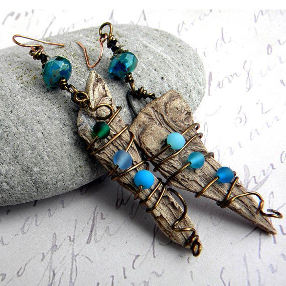 (creation inspiration) Driftwood Earrings  Beach Earrings  Beach Wood by Msemrick on Etsy, $26.00