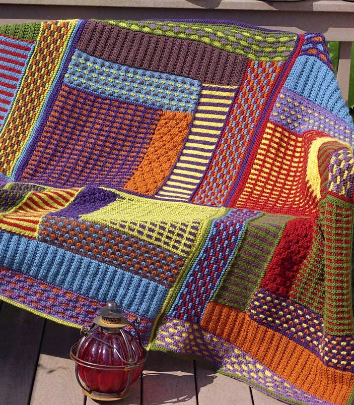 Free Knitting Pattern für Slip Stitch Sampler Blockhaus Throw – Diese Quilt Inspi