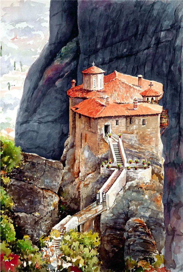 "Pantelis Zografos. Greece in watercolors. Μετέωρα. the other pictures on the board ""Aquarelle  """