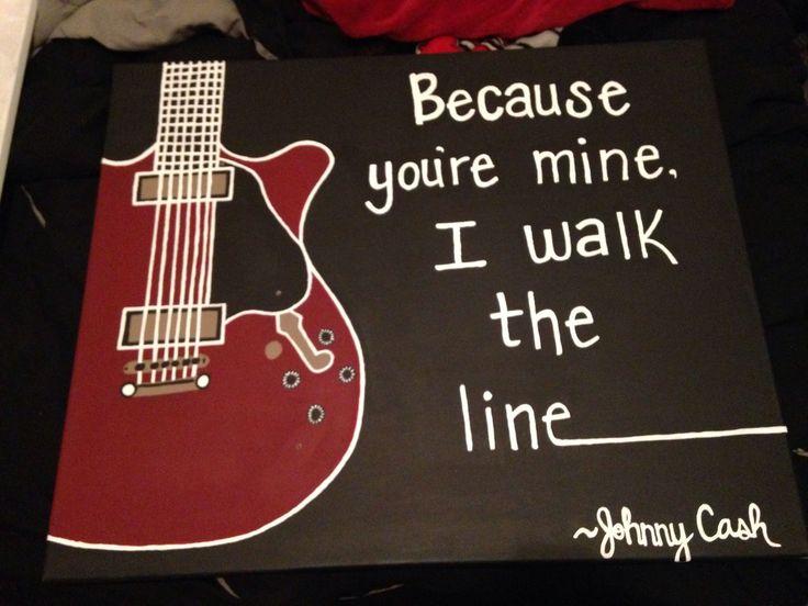 "Painting I just finished for my boyfriend :) ""Because you're mine, I walk the line"" Johnny Cash #boyfriendgiftsideas"