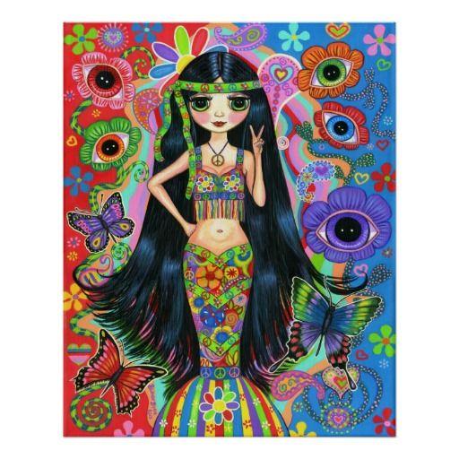 Hippie-Mädchen-Meerjungfrau-Plakat
