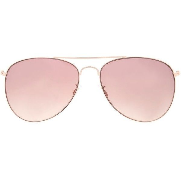 Topshop Ally Aviator Sunglasses ($13) ❤ liked on Polyvore featuring accessories, eyewear, sunglasses, rose gold, aviator style sunglasses, aviator sunglasses and topshop sunglasses