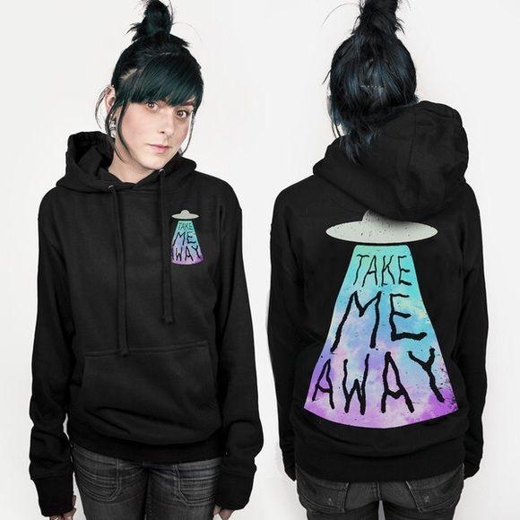 SALE Take Me Away Alien Sweatshirt Excellent condition! Super cute and trendy! TeenHearts Brand! Hot Topic Tops Sweatshirts & Hoodies