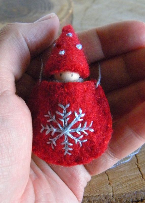 Waldorf Snowflake Baby Necklace, Waldorf Baby, Wearable Doll, Winter, red, gray, blue, Upcycled wool felt
