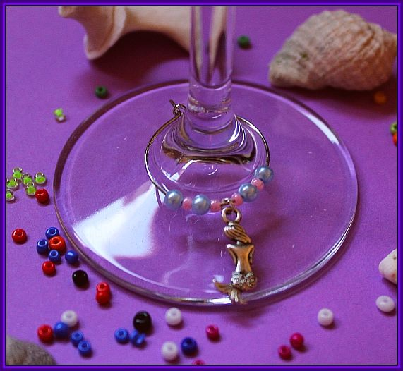 mermaid wine glass charm http://www.facebook.com/micmacmade