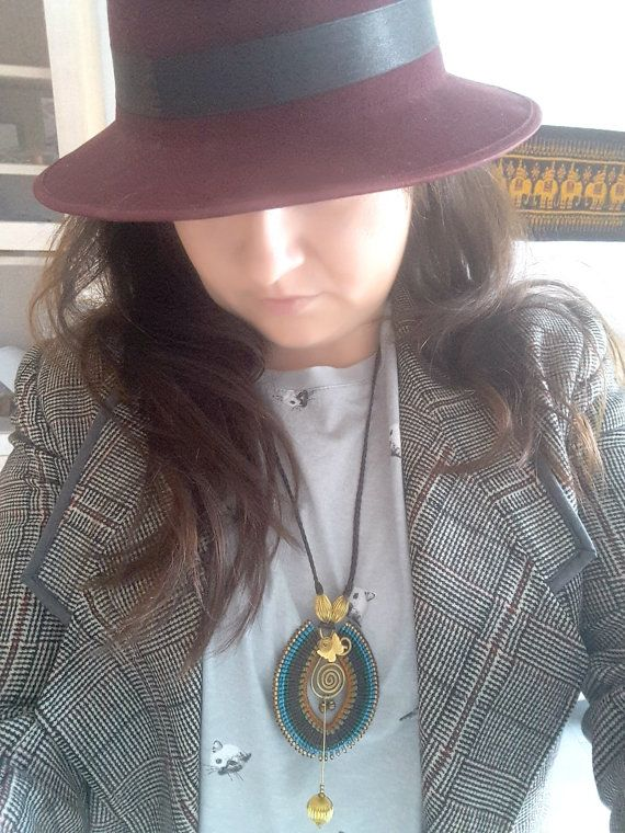 Beautiful Boho Pendant, Blue Turquoise Macrame, Thai Jewelry, Gold Wire Wrap Pendant, Full Circle Pendant, Unique Hippie Statement Piece  www.bohemianstyleshop.etsy.com