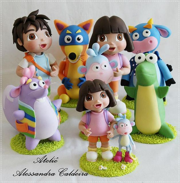 74 best tartas dora images on Pinterest Dora cake Cold porcelain