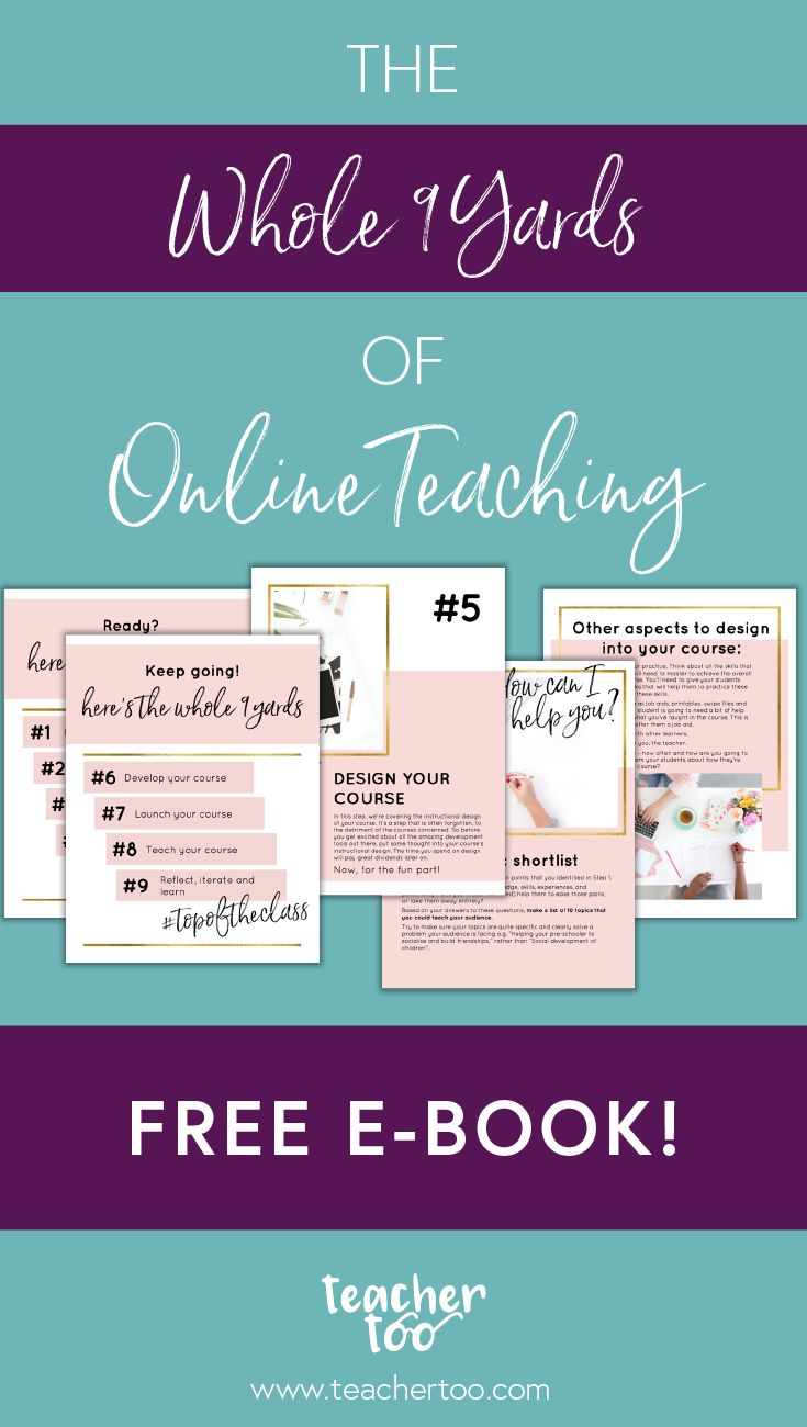 The Whole 9 Yards of Online Teaching | Online course | Free E-book | Build your online course | Online course creation