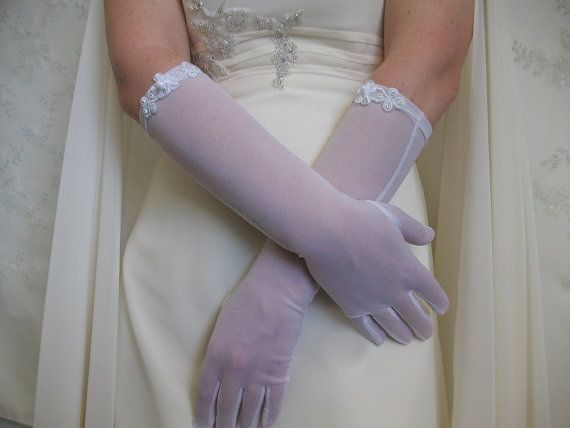Gloves for Brides White organza Gloves Mittens by DesignByIrenne