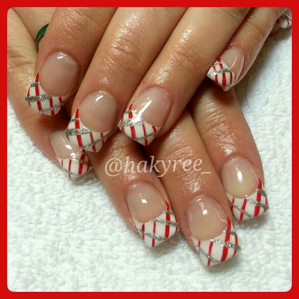 Hand Painted Candy Cane French Manicure Sculpted Gel Nails