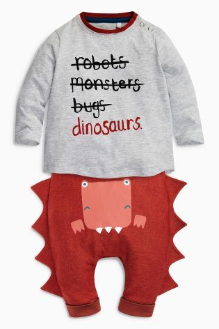 Grey/Red Slogan Dino Tops Two Pack (0mths-2yrs)