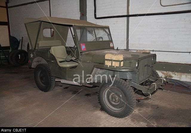 An original American jeep 8250F in Bletchley Park, Bletchley. Buckinghamshire, UK. Stock Photo, Picture and Royalty Free Image. Pic. 41588116