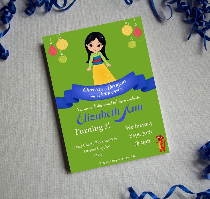 Warrior Princess-Birthday Invite-Printable Invitation-Print Yourself-INSTANT DOWNLOAD-Editable-Princess-Birthday-Mulan-Dragons by PaperWillowDesigns on Etsy
